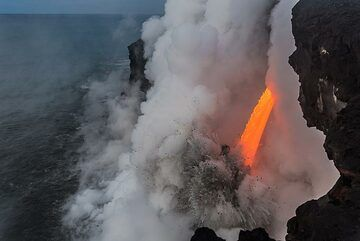 "For almost 3 months in early 2017, Kilauea volcano was the site of one of the most spectacular and rarest volcanic phenomena: a ""fire hose"" or lava hose shooting into the ocean. A major bench and cliff collapse on New Year 's Eve 2016 exposed the main active lava tube which had been feeding the ocean entry at rates of up to several cubic meters of very fluid, hot (approx. 1200 deg C) lava. The lava has been traveling underground from the vent on the east rift zone to the coast at 10 miles distance. 