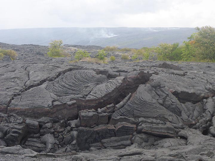 Day 2: Blobs of younger lava came up between the cracks of older pahoehoe lava as it pushed up the crust and broke through (background: volcanic gasses rising up above the largely underground pathway of active lava flows) (Photo: Ingrid Smet)