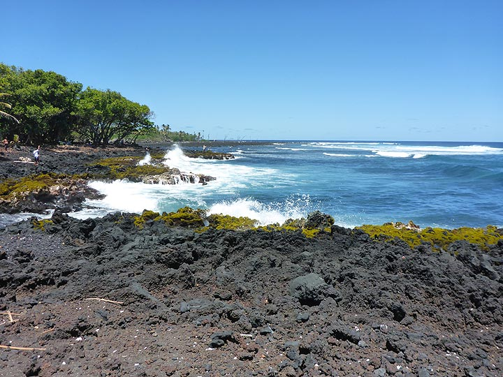 Day 5: All of the coasts on the Big Island are constructed from dark lava flows and under continuous attack of the ocean waves (Photo: Ingrid Smet)