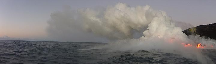 Day 5: Panoramic view of the lava ocean entry at Kamokuna (Photo: Ingrid Smet)