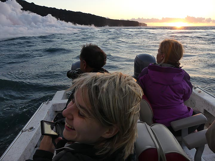 Day 5: The sunrise boat tour to the lava ocean entry at Kamokuna was one of the many highlights on this trip! (Photo: Ingrid Smet)