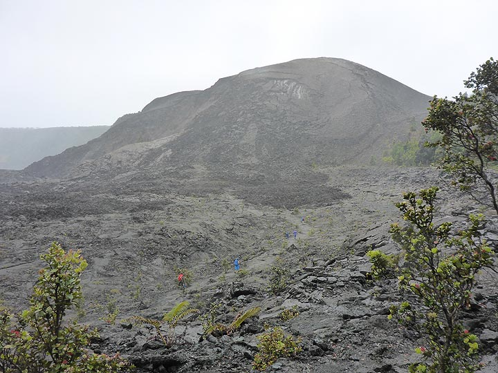 Day 6: View of the 1959 cinder cone as we descend down into Kilauea Iki crater (Photo: Ingrid Smet)