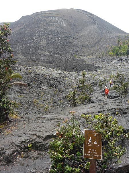 Day 6: Closer view of the 1959 cinder and spatter cone with the slump scars on the top left. These grooves formed when oversteepened slabs of congealed lava spatter broke loose and slid down the side of the cone. (Photo: Ingrid Smet)