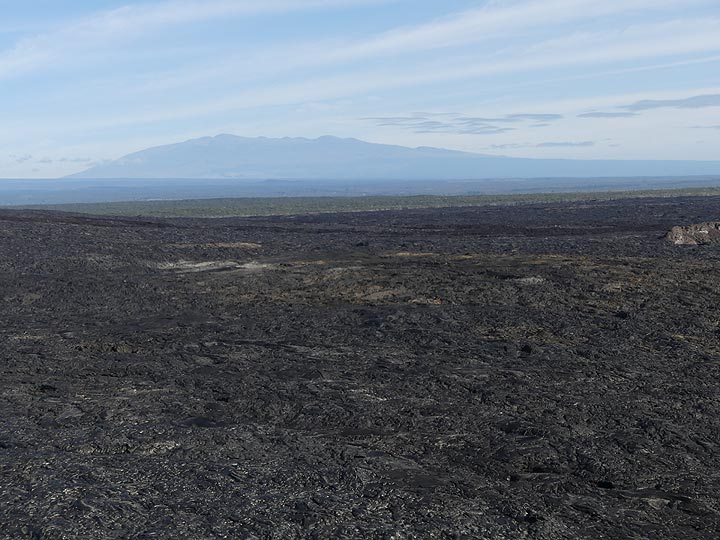 Extension day 3: View across the vast lava fields of Kilauea´s East Rift Zone towards the silhouette of Mauna Kea (Photo: Ingrid Smet)