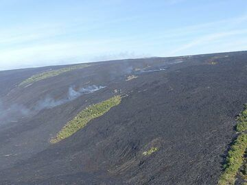 Extension day 3: Relatively young dark brown lava flows that went down the pali (steeper slope) left some islands of forest behind, known as ´kipukas´ . The trail of steam indicates where the lava is traveling underground towards the ocean entry (Photo: Ingrid Smet)
