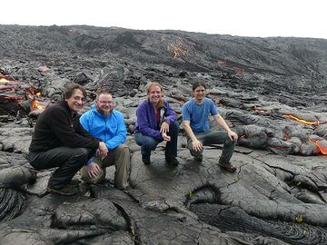 Our small party at the active lava flow fronts! (Photo: Ingrid Smet)
