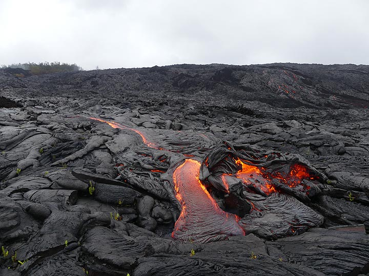 Active pahoehoe lava flows at the bottom of (foreground) and on (background right) the pali (Photo: Ingrid Smet)