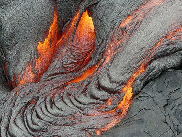 Different small pahoehoe lava outbreaks pooling together (Photo: Ingrid Smet)