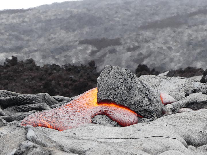 A small lava breakout pushes up its crust - note the heat shimmer in the air above it (Photo: Ingrid Smet)
