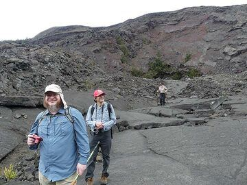 Exploring the now cooled down 1959 Kilauea Iki lava lake around the vent and scoria cone (Photo: Ingrid Smet)