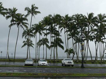 The ocean front at Hilo, the largest town on the Big Island, during a grey and stormy evening (Photo: Ingrid Smet)