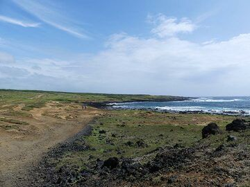 We hike along the coastline of this clearly much drier part of the Big Island towards Green Sand Beach (Photo: Ingrid Smet)