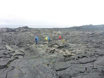 Hiking back across the older lava flows (Photo: Ingrid Smet)