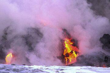 Lava flowing into the Pacific Ocean from Kilauea volcano, Hawai'i (Photo: Yashmin Chebli)