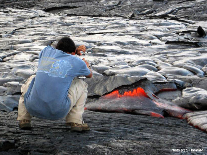 Our tour guide on Hawaii, Phil Ong at a lava flow at Kilauea in November 2008. Photo by S. Hammer  (Photo: Sabine Hammer)