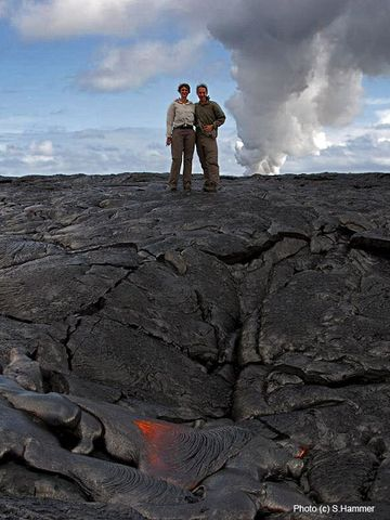 Egon and Sabine standing on an active lava flow (Photo: Sabine Hammer)