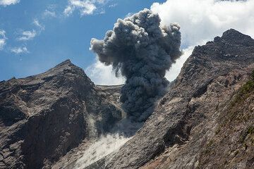 Mushroom plume from a typical eruption at Batu Tara (Photo: Tom Pfeiffer)