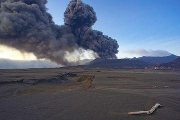 Ash eruption at dawn (17 Feb 2011) (Photo: Tom Pfeiffer)