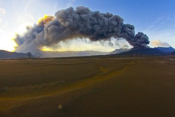 View of Bromo's ash plume from the sand sea caldera in the morning of 17 Feb. The plume is carries eastwards by strong winds. (Photo: Tom Pfeiffer)