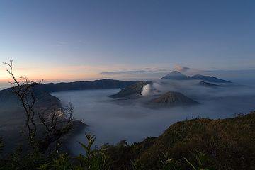 Die nebelgefüllte Tengger Kaldera kurz vor Sonnenaufgang. Links auf der Kalderakante die Lichter des Orts Cemoro Lawang. (c)