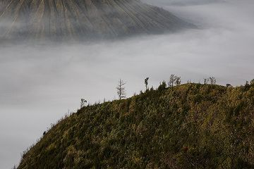 Silhouette of the caldera rim with Batok cone in the background. (c)