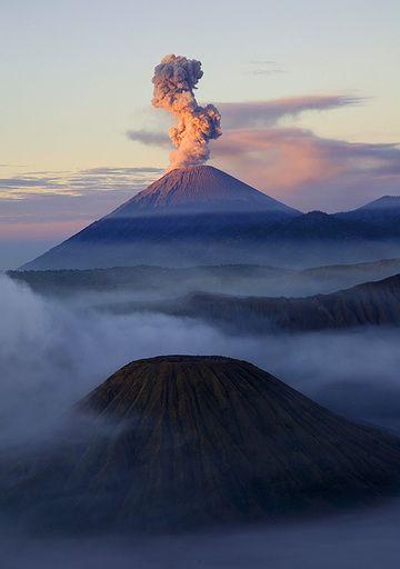 Batok cinder cone and erupting Semeru volcano (c)