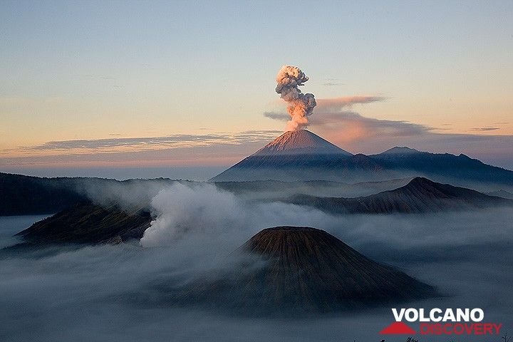 Fog in the caldera, smoking Bromo, the cinder cone of Batok, and an eruption from Semeru volcano in early sunlight (c)