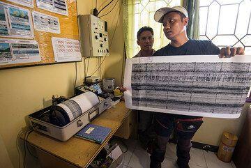 Seismogram from Dukono's recent activity (Photo: Tom Pfeiffer)