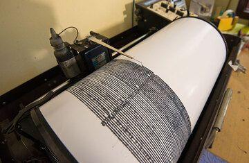 Seismograph recording Dukono volcano's activity. (Photo: Tom Pfeiffer)