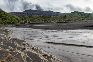 Ash plain at the campsite in an older crater below Dukono volcano (visible in background) (Photo: Tom Pfeiffer)