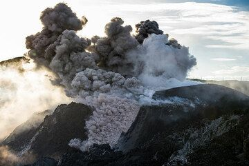 An ash-rich eruption produces a small pyroclastic flow as dense ash starts to flow down the western flank of the cinder cone. (Photo: Tom Pfeiffer)