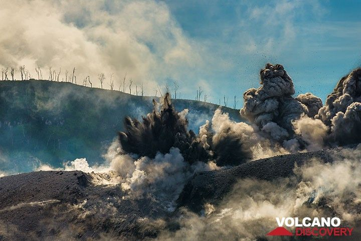 Eruption from multiple vents with black, finger-shaped jets of ash and small bombs. (Photo: Tom Pfeiffer)