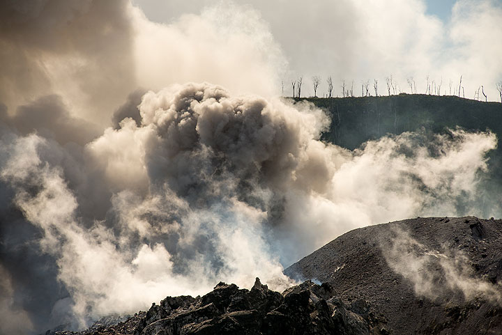 Weak ash emission and steaming. Dead trees on the opposite crater rim. (Photo: Tom Pfeiffer)
