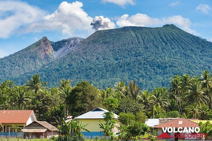 Ibu volcano seen from Duono village NW of the volcano. The large valley breaching the crater on its northern side is visible. (Photo: Tom Pfeiffer)
