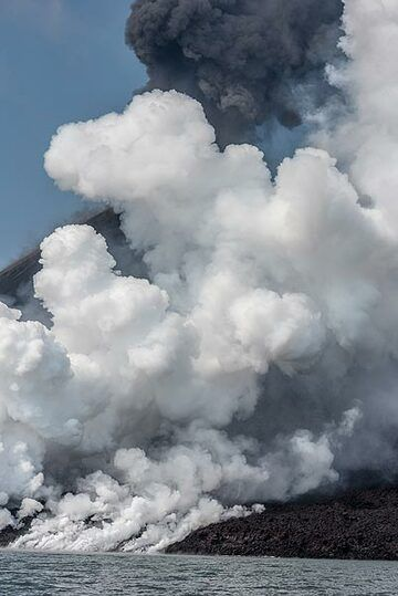 The steam plume drifting with the wind in NE direction covers most of the summit cone, where continuous explosive activity generates a dark ash plume. (Photo: Tom Pfeiffer)