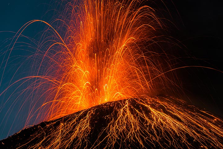 Another moderately strong explosion, but with less incandescent lava (and better to photograph). (Photo: Tom Pfeiffer)