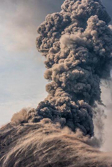 Ash plume rising near vertically for a few hundred meters. (Photo: Tom Pfeiffer)