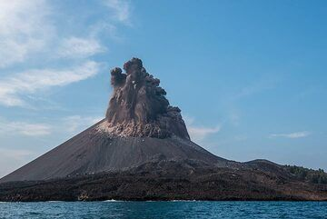 The dense eruption column quickly expands and starts to collapse on its sides. (Photo: Tom Pfeiffer)