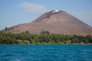 The summit cone of Anak Krakatau and the older, lower crater rim.  (Photo: Tom Pfeiffer)