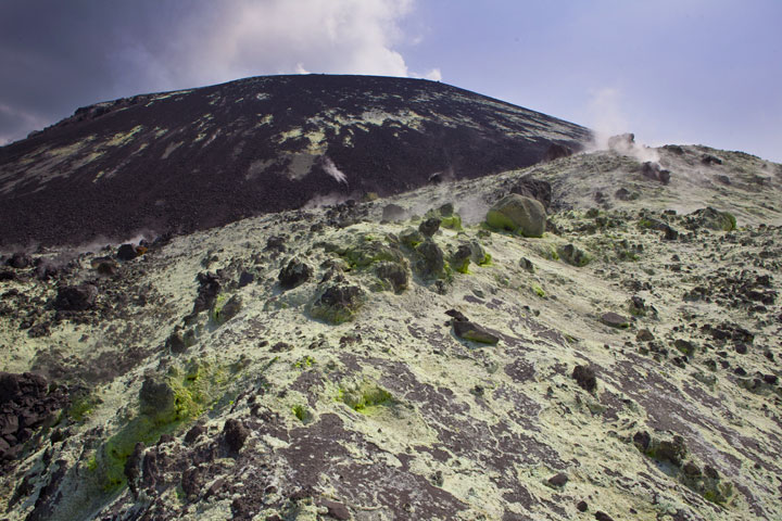 Looking towards the cone of Anak Krakatau, altered ground and fumaroles in the foreground. (Photo: Tom Pfeiffer)