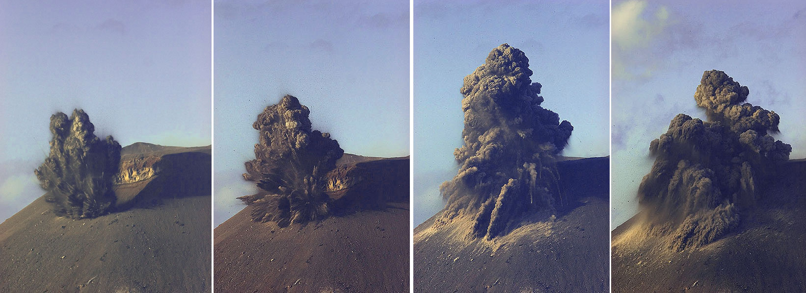 Sequence of a typical small vulcanian-style explosion at the new crater. (Photo: Tom Pfeiffer)