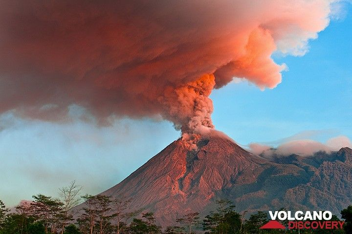 Merapi volcano eruption Nov 2010: a dense ash plume rises from the summit crater, illuminated by the first morning light. (Photo: Tom Pfeiffer)