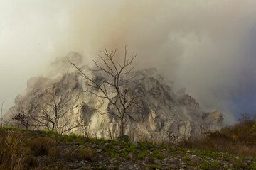 Many trees (on adjacent hills = older lava domes) in have suffered from the drought more than from light ash fall,- the rainy season has yet to come. (Photo: Tom Pfeiffer)