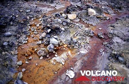 Hydrothermal deposits and colored water creeks in the crater of Papandayan volcano (West Java, Indonesia) (Photo: Tom Pfeiffer)