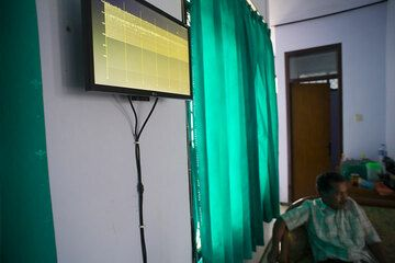 TV-alternative - modern technology helps volcano monitoring. Seismic signals from Semeru in real time on the screen. (c)