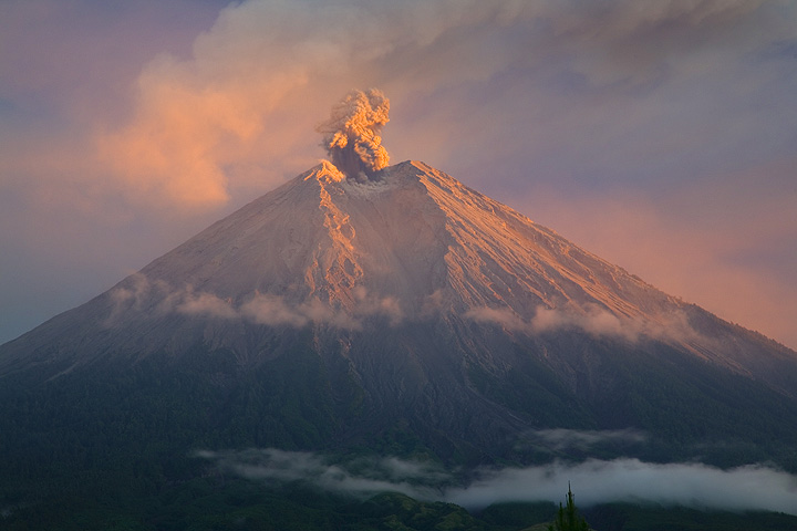 An eruption starts on Semeru while its top is in golden light. (c)