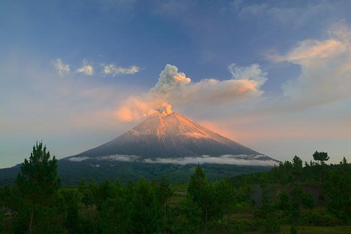 The perfect startovolcano cone of Semeru, Java's highest peak.  (c)