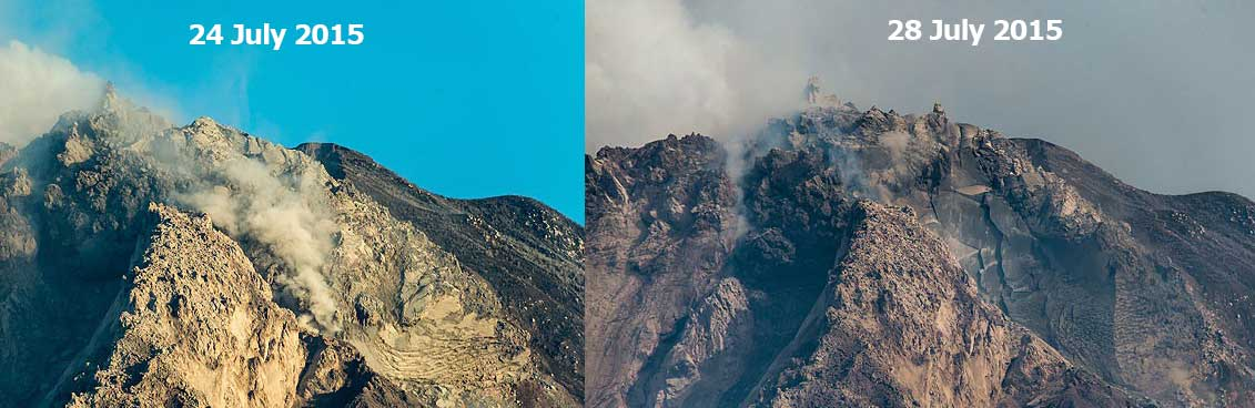 Comparison (same view) of the lava dome from 25 and 28 July. The eastern lobe (to the right) has lost some of its material, especially on the left side, during the recent pyroclastic flows. (Photo: Tom Pfeiffer)
