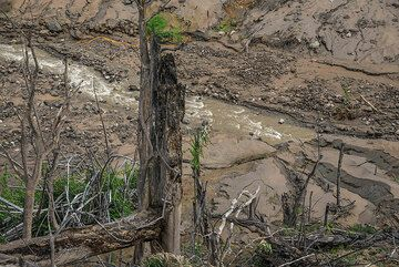 Water erosion quickly reworks the pyroclastic deposits, carving a new river bed into them. (Photo: Tom Pfeiffer)
