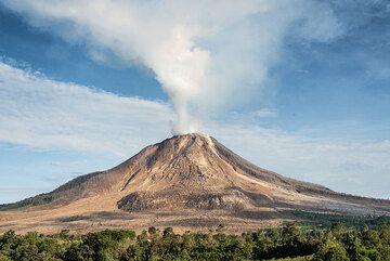 Steam plume rising more than 1 km. (Photo: Tom Pfeiffer)